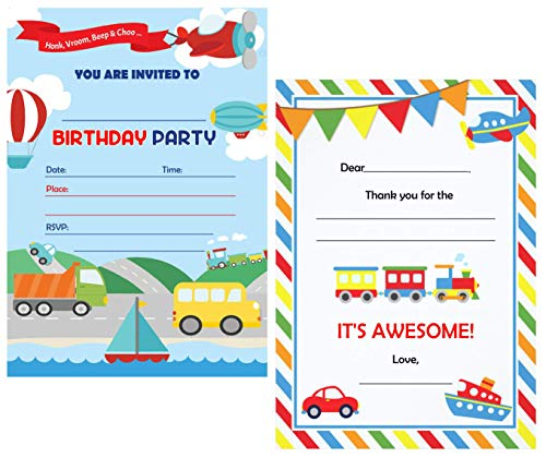 (Birthday Party Invitations for Boys or Girls (25 Counts) and Thank You Cards (25 Counts) SET with envelopes (50 Counts) | Birthday Invitations pack for Boys or Girls | 100)