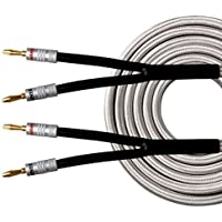 HannLinte Speaker Cable(6.0FTx2) with Gold Plated Banana Plugs-12AWG (OFC), Pair (2 Cables), Silver color