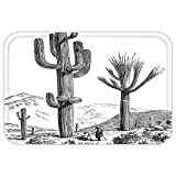 VROSELV Custom Door MatCactuDecor Sketchy Hand Drawn Print of Desert Plantwith Mexican TravellerImage Black and White