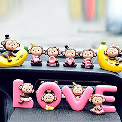 FULL WERK Creative Cute Monkeys Love Dashboard Decorations Car Home Office Ornaments Best Birthday Holiday Gift
