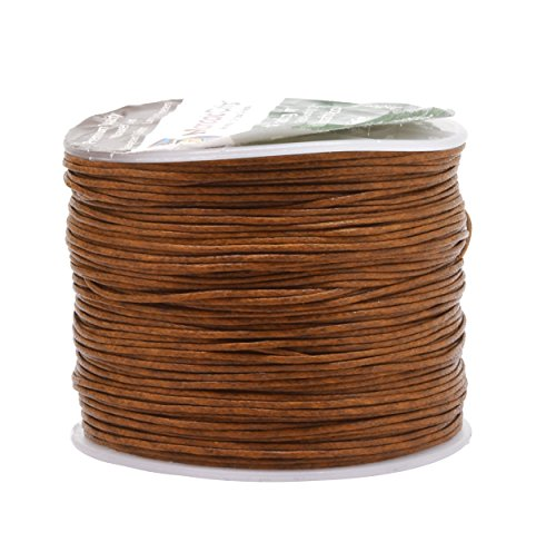 Mandala Crafts 0.5mm 109 Yards Jewelry Making Crafting Beading Macramé Waxed Cotton Cord Thread (Russet Brown) (Hand Knotted Cord)