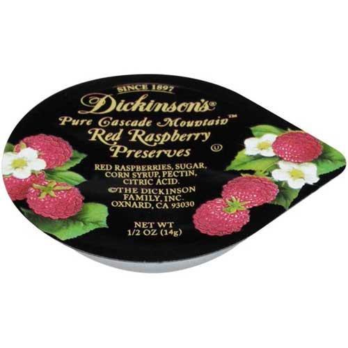 Dickinson Red Raspberry Preserves, 1/2 Ounce - 200 per case.