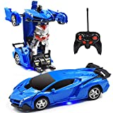 Jeestam RC Car for Kids, 1:18 Transform Car Robot, 2.4GHz Rechargeable One Button Transformation 360°Rotating Drifting Realistic Engine Sounds Remote Control Toy Car, Best Gift for Kids and Adults