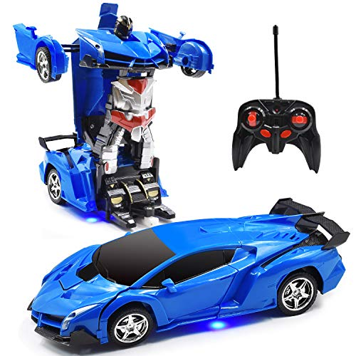 Jeestam RC Car for Kids, 1:18 Transform Car Robot, 2.4GHz Rechargeable One Button Transformation 360°Rotating Drifting Realistic Engine Sounds Remote Control Toy Car Gift for Kids and Adults (Blue) (Remote Controller Car)