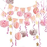 Girl Birthday Decorations Pink and Gold Hanging Pom Poms Star Garland Paper Decor Ribbon + Happy Birthday Banner Pink for Girl - 16pcs