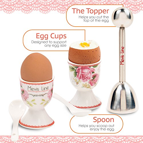 MEVIS Line - Set for 4 Person Boiled Egg Kit 2 Egg Cups With Spoons, 1 Egg Timer, and 1 Topper Cracker, Easy to Use Breakfast Set for Egg Lovers by MEVIS LINE (Image #5)