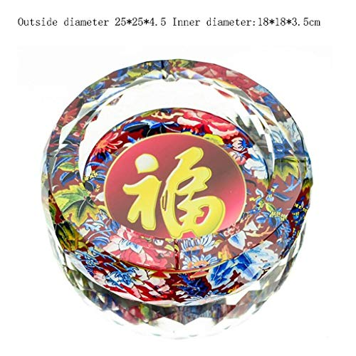 Huasen Home Ashtray Ashtray 3D Blessing Pattern Color Printing Style Round Crystal Glass Home Living Room Decoration Office Ashtray (Size : 25CM) by Huasen (Image #1)