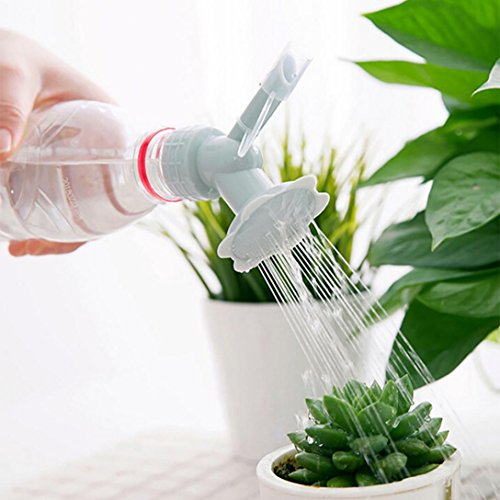 Highpot Dual Head Bottle Watering Spout, Mini Hand Bottle Watering Spout, Bonsai Watering Can Sprinkler Garden Tools (Gray)