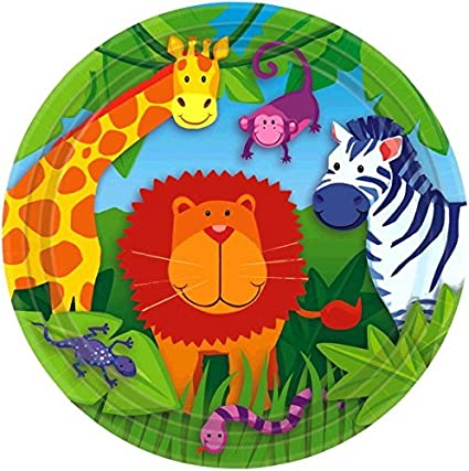 6-1//2 x 6-1//2 Multi amscan Colorful Jungle Animals Birthday Party Lunch Napkins Party Supply