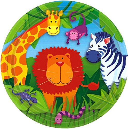 Amscan Wild Jungle Animals Themed Party Round Dinner Plates (Pack of 8), Multicolor, 9