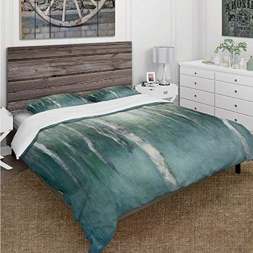 HNU 3 Piece All Seasons King Beautiful Forest Dream Jungle Blue Green Duvet Cover Art Abstract Textured Luxe Bedding Farmhouse Style Nature Pattern Tie Duvet Cover Ultra Soft Woodland World Bedding