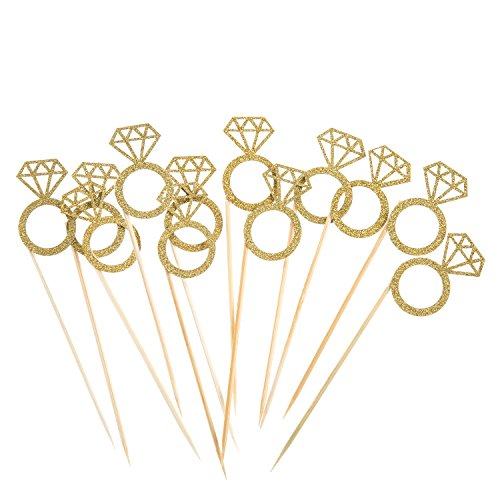 Mtlee Cupcake Topper Gold Glitter Mini Diamond Ring Cakes Toppers (35 Pack)