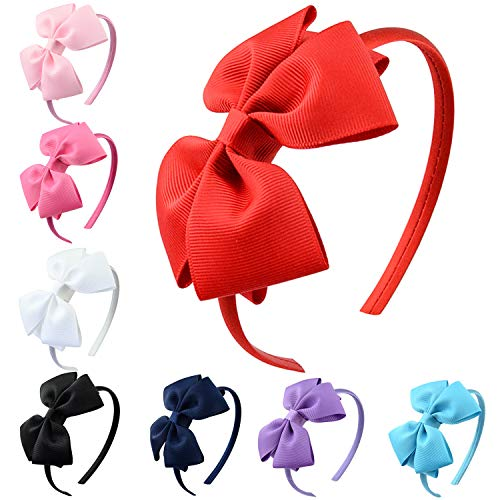 Aneco 8 Pack Girls Grosgrain Ribbon Headband with Bows Tie Hair Hoop Bows Headband Hair Accessories, 8 Colors