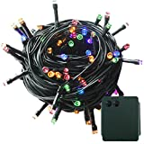 PMS 500 LED String Fairy Lights Green Cable Battery Power Operated Waterproof Indoor & Outdoor for Christmas Tree Xmas Party Garden Decoration(500 LEDs Green Cable, Multi-Color)