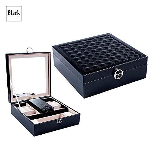 (Lily Treacy Wooden Jewelry Box Organizer Case 2-Tray Extra Travel case Black/White with Deluxe PU Leather Finish with Swing Mirror & Lock (Black))