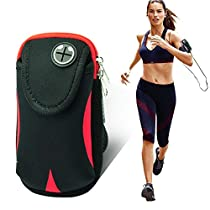 VMAE Outdoor Armband For Iphone 6/6s Multifunctional Double Pockets Sports Running Water Resistant Armbag With Earphone Hole for Iphone 7,IPhone 6/6s Below 4.7inch-Black&Red