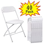 JAXPETY Commercial Plastic Folding Chairs Stackable Wedding Party Event Chair White/Black (40, White)