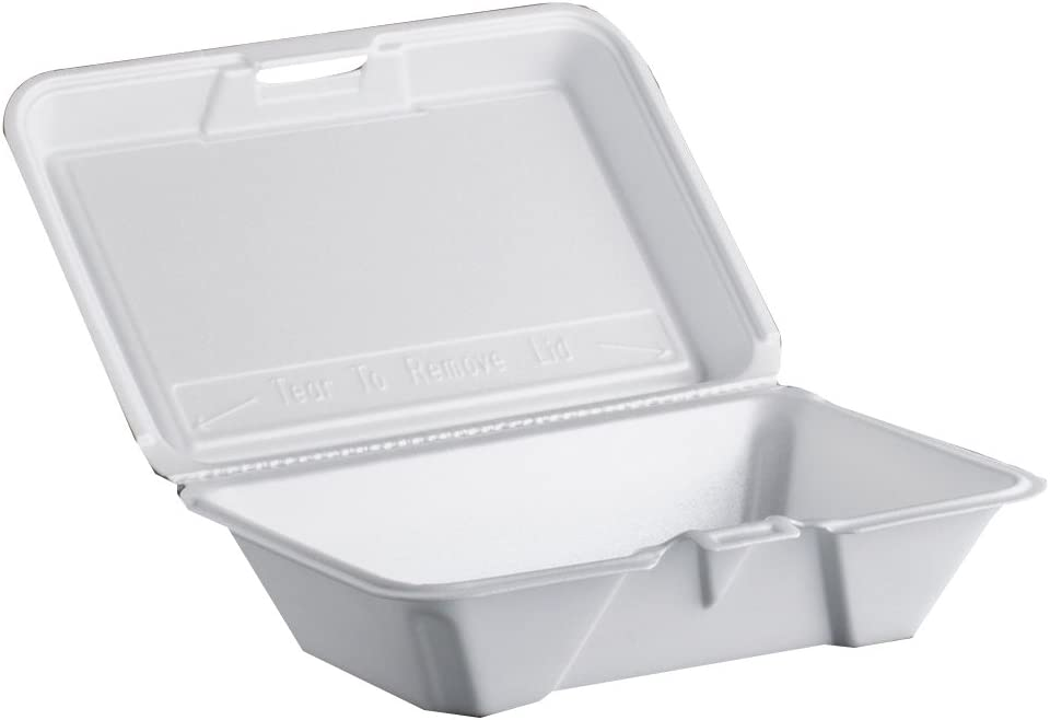DART 205HT1 Carryout Food Container, Foam, 1-Comp, 9 3/10 x 6 2/5 x 2 9/10, 200/Carton