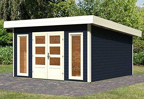 Karibu Woodfeeling Gartenhaus Northeim 5 opalgrau 40 mm Außenmaß (B x T): 369 x 369 cm Dachstand (B x T): 418 x 420 cm Wandstärke: 40 mm umbauter Raum: 27,7 cbm Bauweise: Steck-/Schraubsystem Ausführung: opalgrau