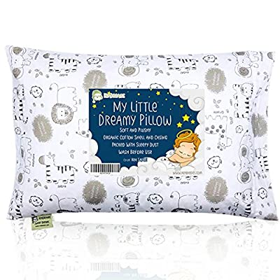 Toddler Pillow with Pillowcase - 13X18 Soft Organic Cotton Baby Pillows For Sleeping - Washable & Hypoallergenic - Toddlers, Kids, Infant - Perfect For Travel, Toddler Cot, Bed Set (Kea Safari)