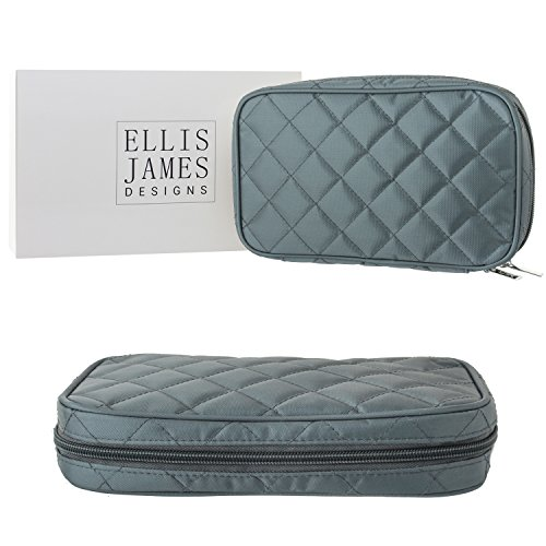 Ellis James Designs Jewelry Travel Bag and Organizer Elegant Pouch with Quilted Exterior and Padded for Protection - Keeps Your Earrings, Necklaces and Other Treasures Neat and Secure - Grey