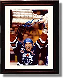 Framed Mark Messier Stanley Cup Celebration Autograph Replica Print - Edmonton Oilers