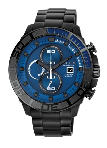 - Citizen #CA0525-50L Men's Eco Drive Black IP Titanium Blue Dial 200M Chronograph Watch