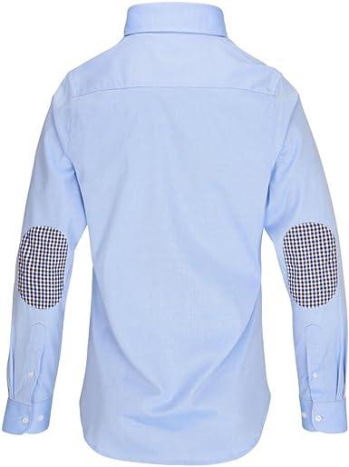 ALLBOW Hombre Camisas Formales con Parches en los Codos, Regular Fit, Azul: Amazon.es: Ropa y accesorios