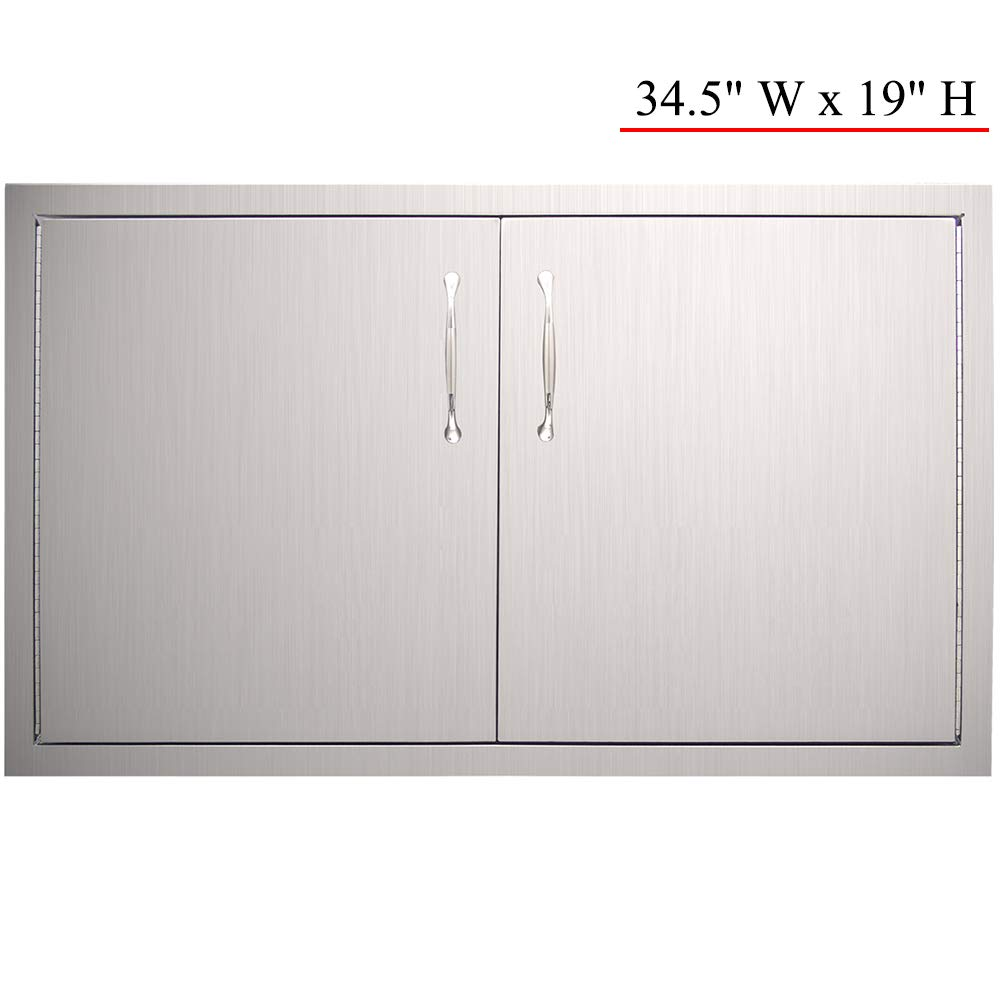 YXHARD Outdoor Kitchen Door, 304 Stainless Steel 34-1/2''Wx 19'' H Double BBQ Access Door for Outdoor Summer Kitchen Grilling Station or Commercial BBQ Island by YXHARD