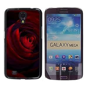 Be Good Phone Accessory // Dura Cáscara cubierta Protectora Caso Carcasa Funda de Protección para Samsung Galaxy Mega 6.3 I9200 SGH-i527 // Deep Crimson Dark Red Rose Love Valentines