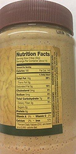 Lieber's Natural Cashew Nut Butter 18 Oz. Pack Of 6.