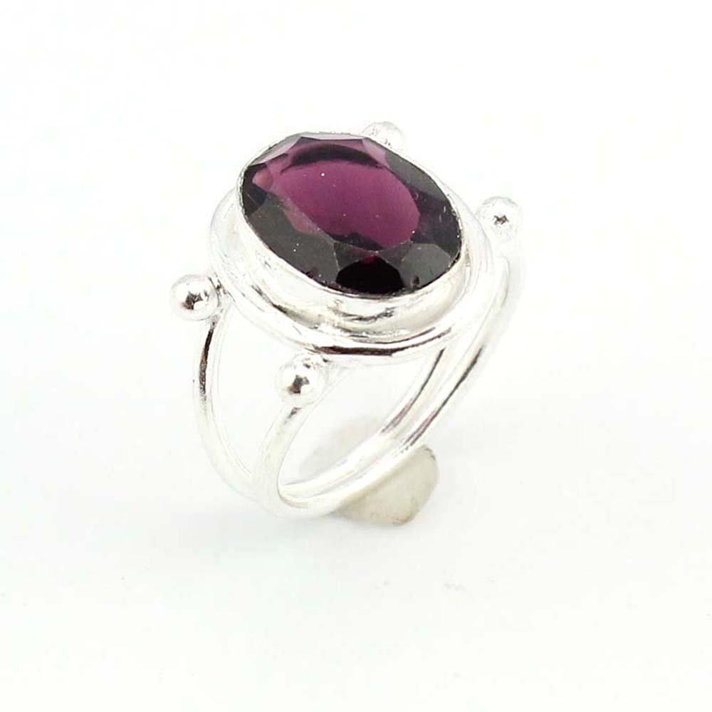 silverjewelgems BEST QUALITY AMETHYST QUARTZ FASHION JEWELRY .925 SILVER PLATED RING S10695