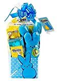 Peeps Bunny Marshmallow Themed Easter Candy Basket with Plush, Games and Headband Blue
