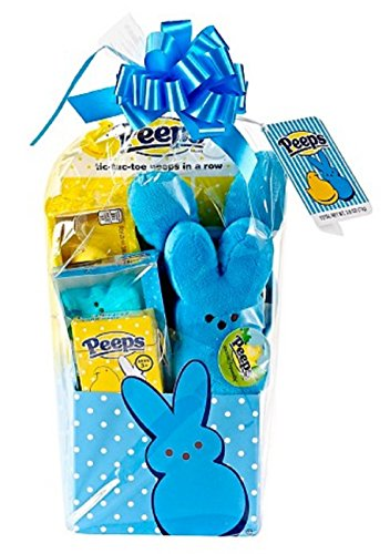 Peeps Bunny Marshmallow Themed Easter Candy Basket with Plush, Games and Headband Blue (Born Card)