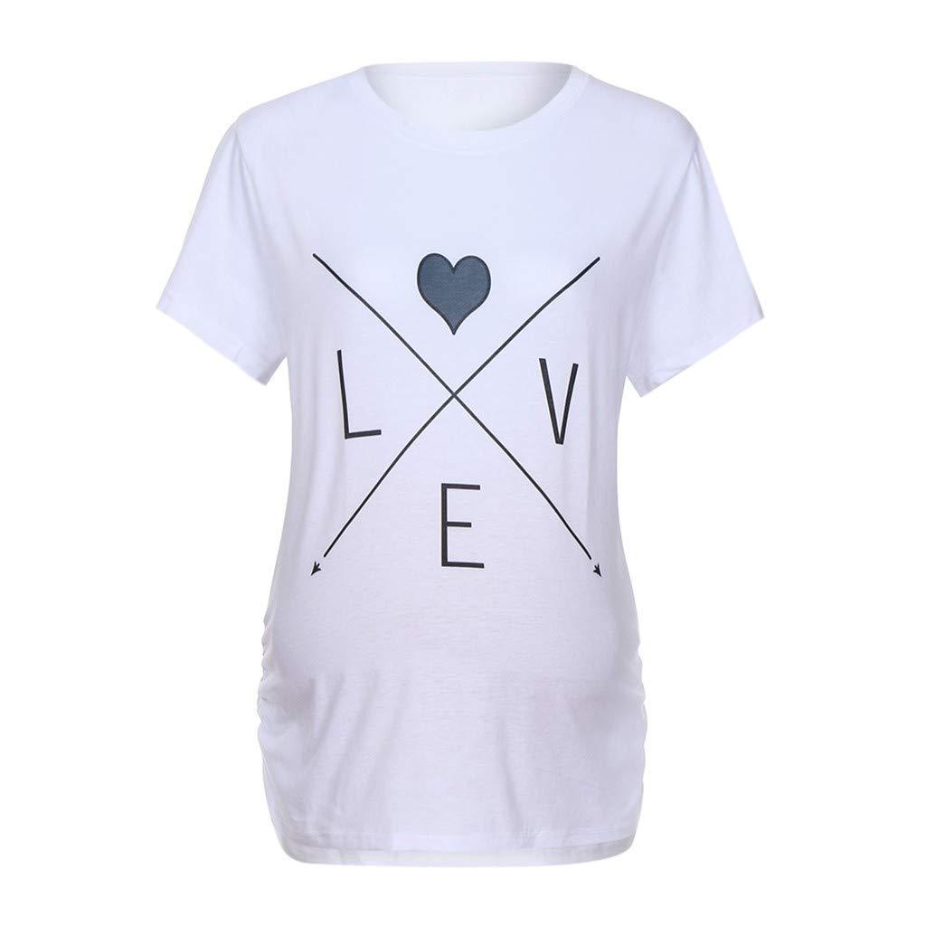Women Pregnant Tops,Jchen Women Maternity Short Sleeve Letter Arrow Print Tops T-Shirt Pregnancy Valentine Tops (S/US Size:4, White)
