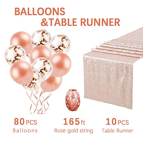 10-Pack Champagne Blush Sequin Table Runner 12x108 Inches Sequin Wholesale Sequin Table Runners Wedding table runners with Confetti Balloons and Rose Gold Latex Balloons as gifts by QueenDream