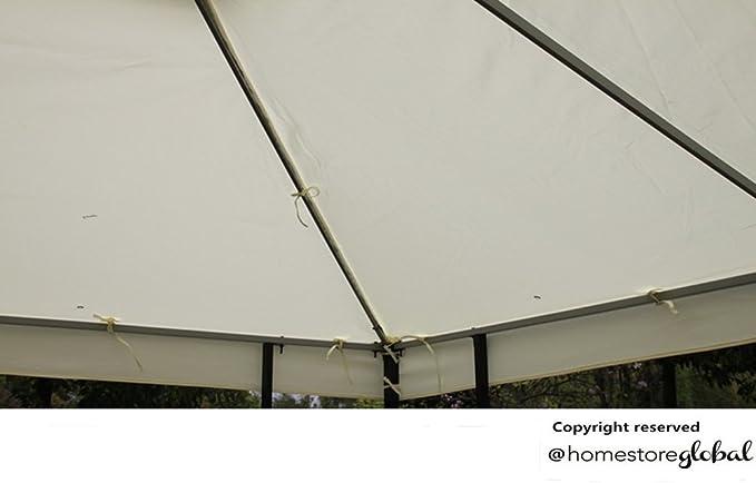 HomeStore Global, Toldo de repuesto para 4M x glorieta 3M con la salida de aire - 2 piezas de la cubierta separadas para los dos niveles quiosco de (color crema): Amazon.es: Jardín