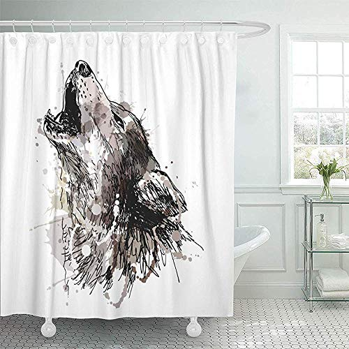 Abaysto Watercolor Sketch Colored Hand Drawing of Howling Wolf Gray Draw Halloween Dog Paint Home Decor Shower Curtain Sets with Hooks Polyester Fabric Great -