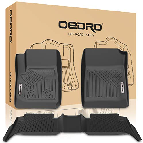 oEdRo Floor Mats Compatible for 2015-2019 Chevy Colorado Crew Cab/GMC Canyon Crew Cab, Unique Black TPE All-Weather Guard Includes 1st and 2nd Row: Front, Rear, Full Set Liners