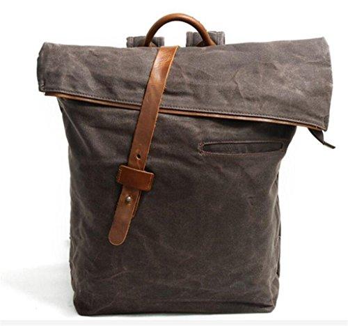 Great Strange Ocio doble bolsa de hombro estudiante bolsa de viaje hombres y mujeres impermeables aplicar cuatro colores 0.82kg , deep grey brown