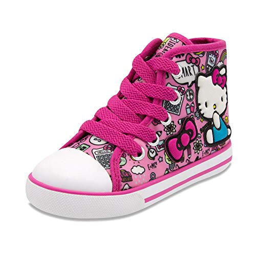 Hello Kitty Lil Avery Lace Up Fashion Sneaker with Embroidered Logo 9 Pink