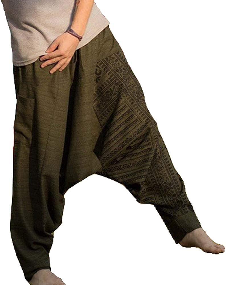 Pantalones de Pierna Ancha Estilo Hippie para Hombre, Pantalones Holgados de Yoga