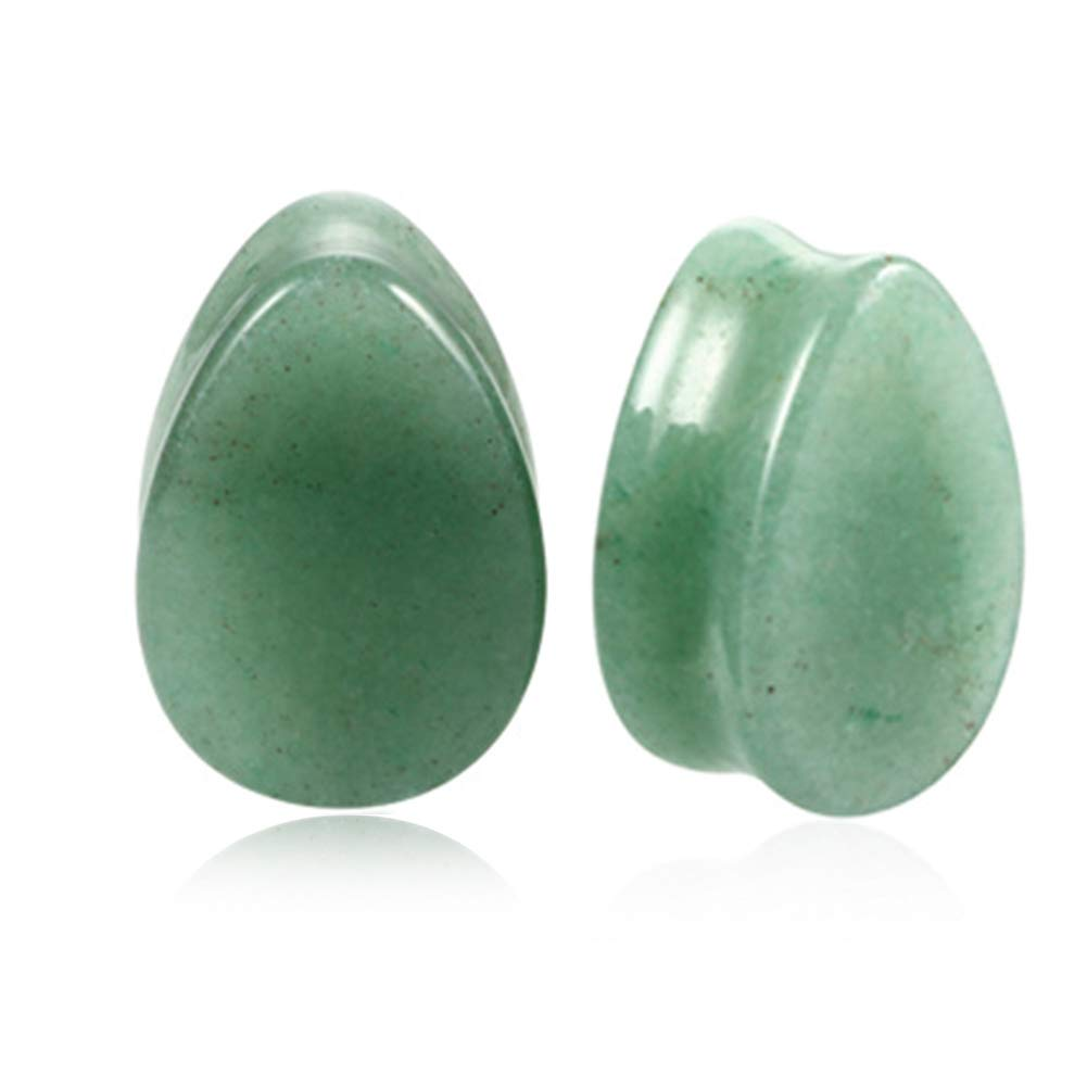 1 Pair Teardrop Green Jade Natural Stone Teardrop Plug Tunnels Ear Gauges Expanders Stretcher Body Piercings HQLA