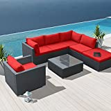 Modenzi 7H-U Outdoor Sectional Patio Furniture Espresso Brown Wicker Sofa Set (Red)