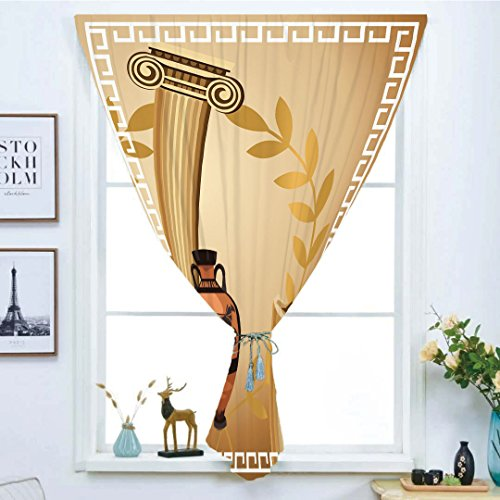 Geometric Greek Vases - iPrint Blackout Window Curtain,Free Punching Magic Stickers Curtain,Toga Party,Antique Greek Columns Vase Olive Branch Hellenic Heritage Icons,Light Brown Cinnamon White,Paste Style,for Living Room