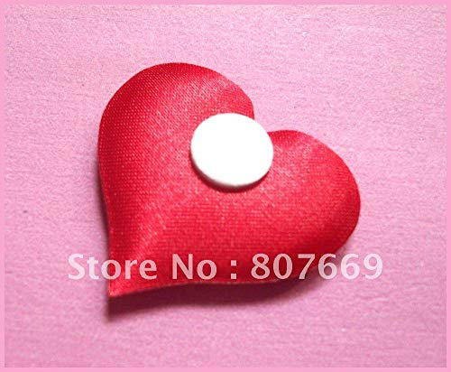 - Dalab Wholesale 3mm red Padded Satin Heart Appliques for Valentine's