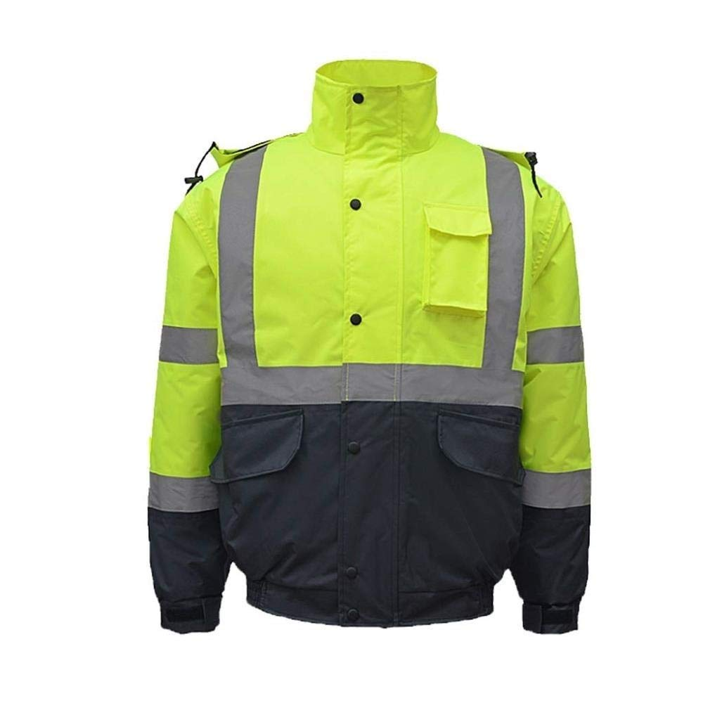 ZHF-Rainwear Clothing Reflective Cotton Coat, Hi Vis Visibility Safety Work Hoodie Traffic Safety Jacket/Highway Cold Coat/Cycling Suit/Winter Fluorescent Jacket (Size : XXL)