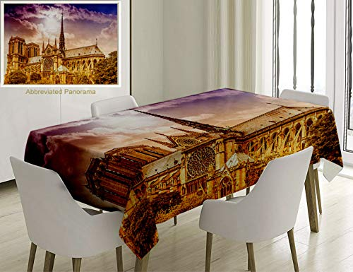 Unique Custom Cotton And Linen Blend Tablecloth Paris Decor Collection Notre Dame Cathedral Paris. Parisian Gothic Trees Forest Sunshines Cloudy SkyTablecovers For Rectangle Tables, 70 x 52 Inches -