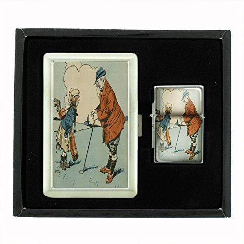 Perfection In Style Cigarette Case and Oil Lighter Gift Set Vintage Golf Design 010 by Perfection In Style