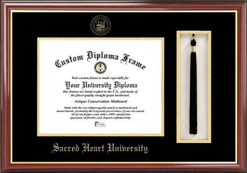 Sacred Heart University Pioneers - Embossed Seal - Tassel Box - Mahogany - Diploma (Embossed Hearts Frame)